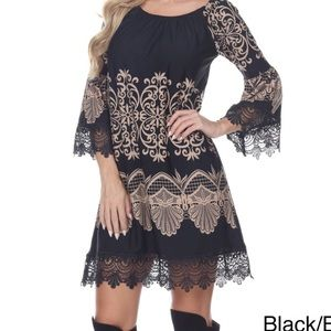 Black & Tan Shift dress empire waist & lace Size S